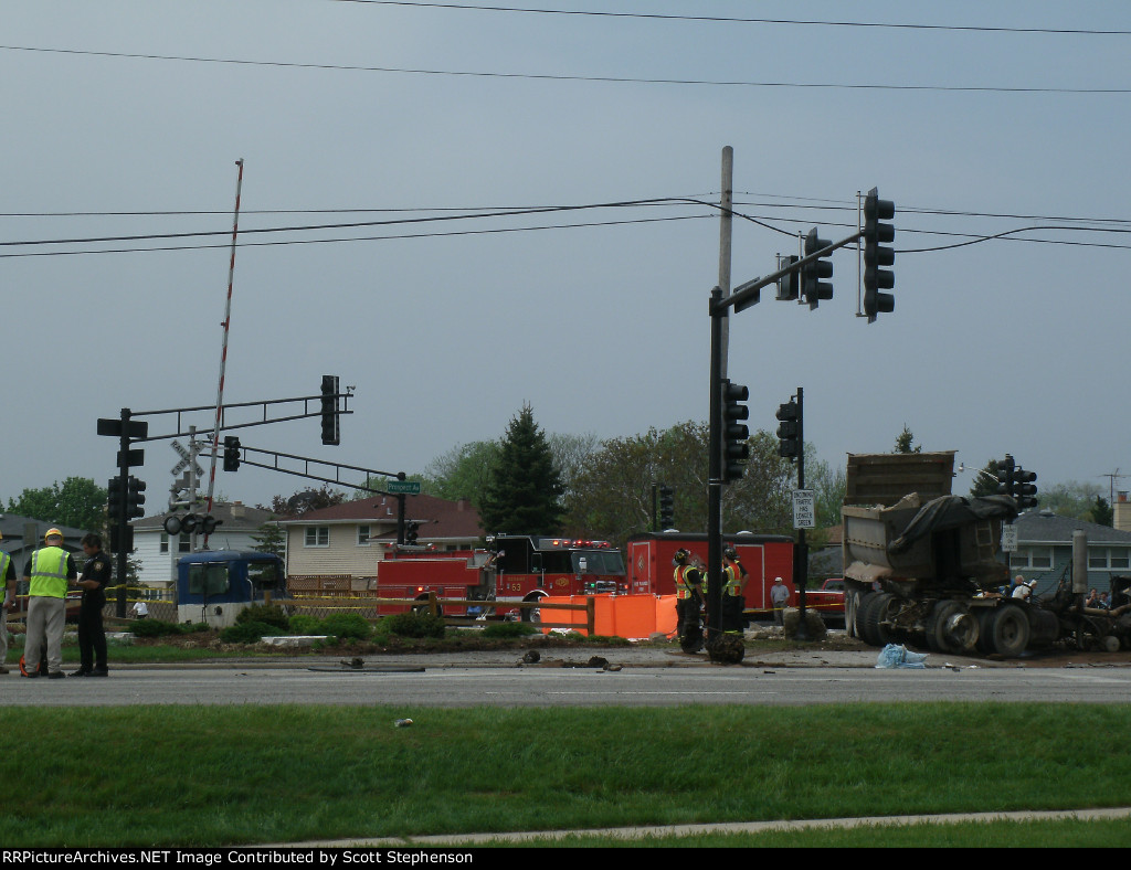Dump truck destroyed after being struck by Train. RESPECT THE GATES!