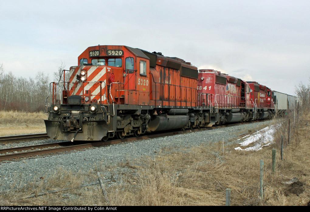 CP 5920, 5841 & 6608 build their train in CP's Scotford Yard