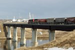 CN 5358 and WC 3027 cross the Saskatchewan River at MP 110 of CN's Vegreville SUb