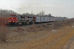 CN 2706, BC 4642 & CN 5761 head east through Ardrossan at MP 250 of CN's Wainwright Sub.