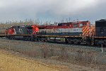 CN 2706 & BC 4642 head east through Ardrossan at MP 250 of CN's Wainwright Sub.