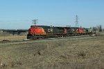 CN 2513, 2636 & 7061 head south onto CN's Camrose Sub at Bretville Junction