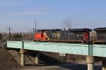 CN 2518 crosses the Yellowhead Highway as it takes CN's Camrose Sub at Bretville Junction