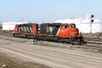 CN 5340 & 5331 run light engine into CN's Clover Bar Yard