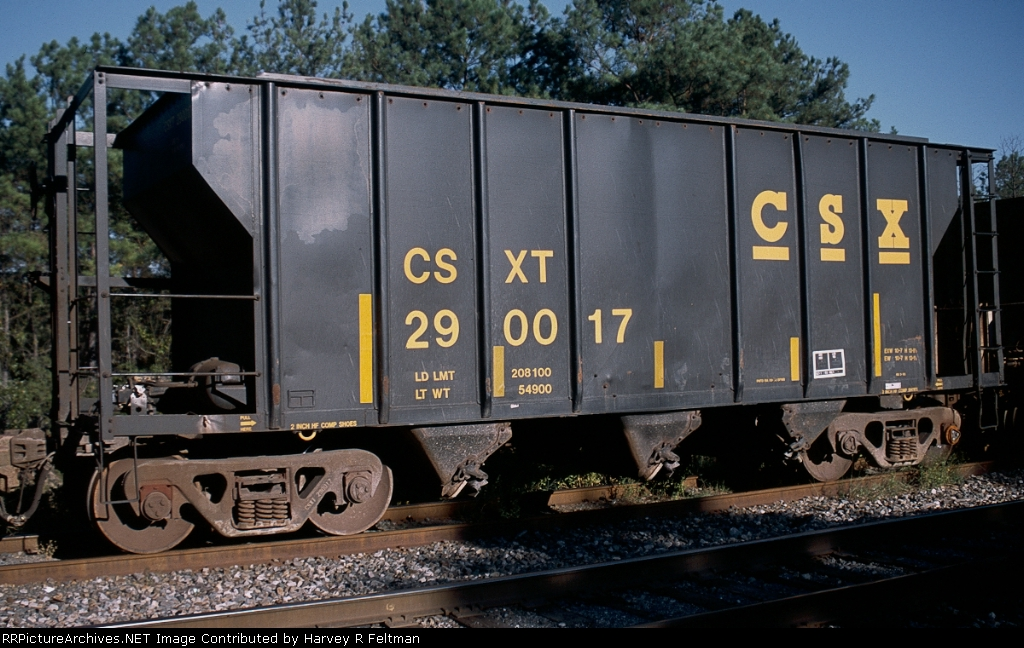 CSXT 290017, an aggregate service assigned hopper awaiting placement for loading at the mine in Junction City,