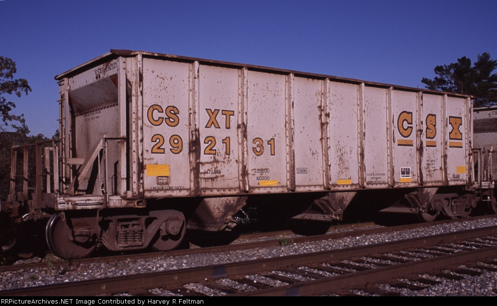 CSXT 292131, an aggregate service assigned hopper awaiting placement for loading at the mine in Junction City,