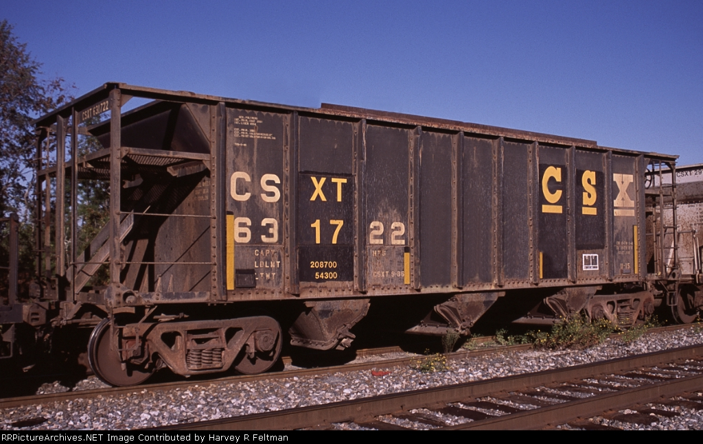 CSXT 631722, an aggregate service assigned hopper awaiting placement for loading at the mine in Junction City,