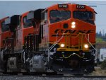 Zoom in shot of A Very, Very Brand New ES44C4 BNSF 6700 as she Rolls eastward through East Flagstaff/
