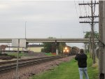 UP 8669 leads a double-stack intermodal! My friend Kevin is in the shot.