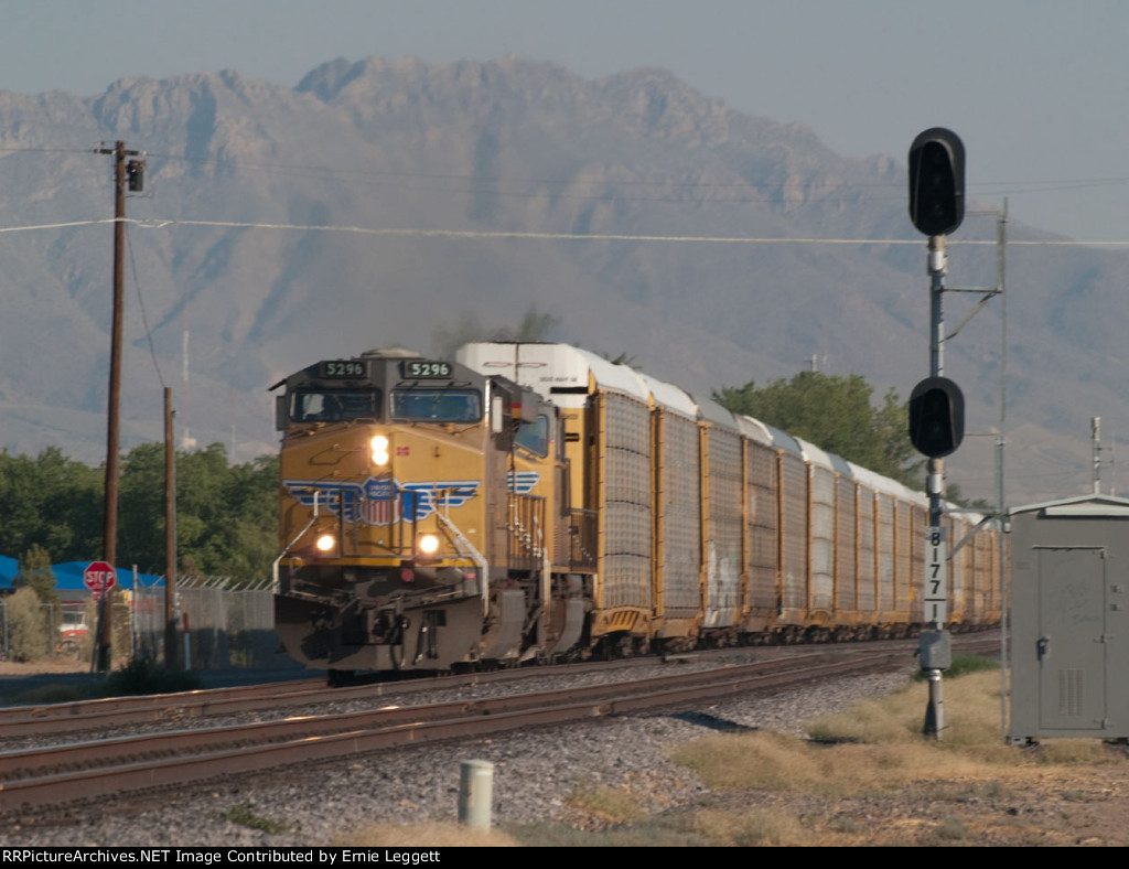 UP 5296 leads an EB autorack at 8:03am