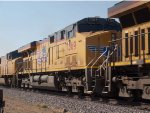 UP 7369 #2 power in a WB autorack/doublestack (IMNLB) at 9:41am