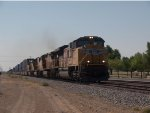 UP 8549 leads a WB doublestack at 10:36am