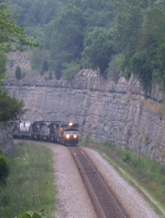 SB freight dwarfed by the cut