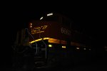 BNSF 6662 close in shot of her Dim Headlights and LED Road Number Lights and part of her BNSF Logo reflects the flash.