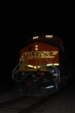 Head On Night Flash Shot of a Very Brand New BNSF 6662 as she pushes the Z LAC-LPC Intermodal Train.