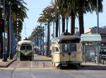 Cars #1062 & #1056 pass each other on the Embarcadero