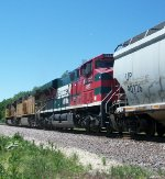 FXE 4695 on westbound UP empty grain train