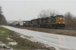 EB freight in pouring rain