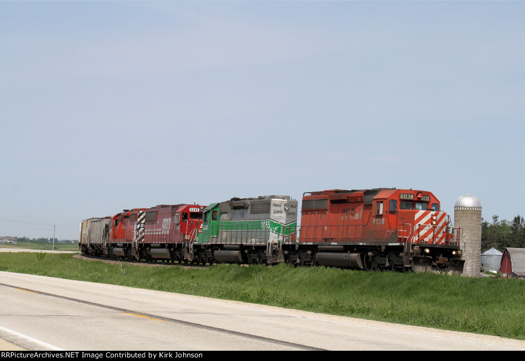 Eastbound CP Grain Running Parallel to US Hwy 52