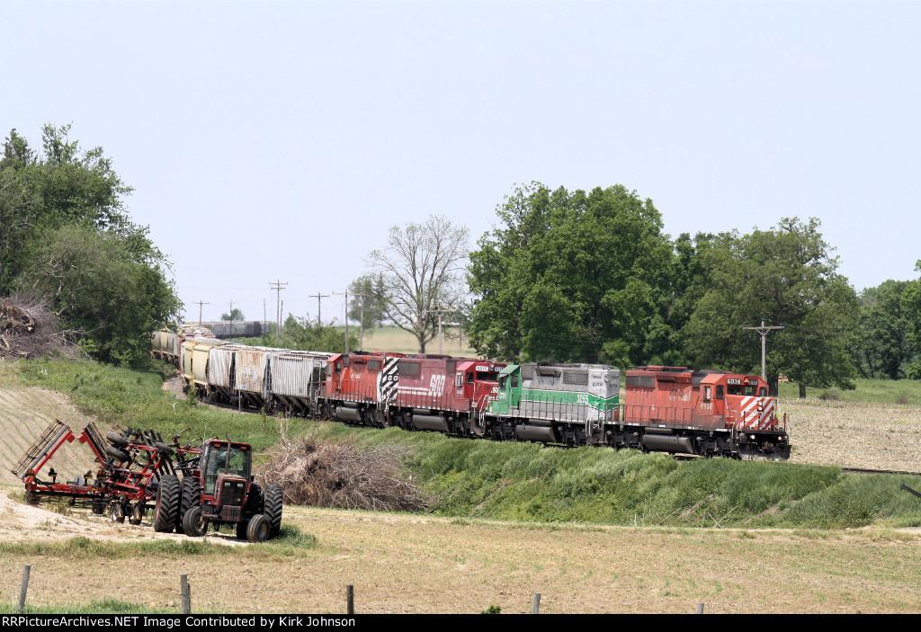 Eastbound CP Grain Snakes Down the Rail
