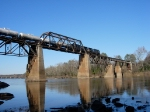 Train crosses Congaree river from Cayce into Columbia