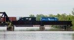 An ex-Conrail leads an empty Rail train