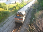 A late Amtrak Blue Water Races west