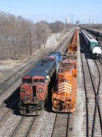 The new crew for the rail train checks things over before entering the yard and tying onto the train