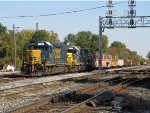 CSX 2692 & 2744 sit tied down with tie gons for the weekend