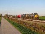 CSX 7344 rolls south out of Deshler leading Q365-08