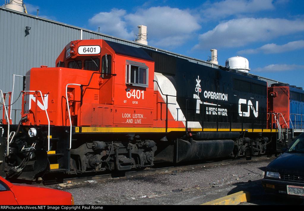 GTW 6401, EMD GP40, on a transfer train at CNW's Proviso Yard