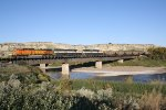 BNSF 5649 Crosses the Little Missouri River