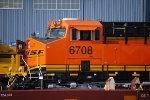 Zoom in side shot of A Very, Very Brand New BNSF 6708 with her Crew Cab Door open as she gets serviced at the BNSF Commerce City Locomotive Repair and Service Facility.