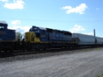CSX 8015 working hard EB with AEX Covered Hopper #9114
