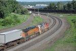 Eastbound intermodal rolls downhill