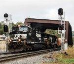 NS westblound 15T departs the yard at CP ALLEN splitting the new sinals
