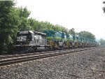 NS 3393 leads a train of export GE locomotives headed to Brazil