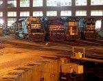 NS SD40-2 3352, SD60M 6780, 9-40CW 9599 & MBTA GP40MC 1139
