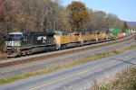NS 9889 leads 4 UP units west in a rare sight on the Pitt Line