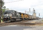 After waiting for several hours, this NS westbound grain train starts across the C&O diamonds at Columbus Ave