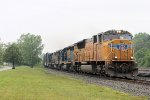 UP SD70 4733 leads eastbound Q364 past
