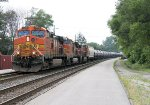 Eastbound ethanol train K688 comes into view with a trio of BNSF GE's for power
