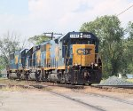 Walbridge-Fostoria turn H795 approaches town on the C&O wioth light power this afternoon