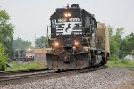 NS local L66, with high hood SD40 3320 approaches Poplar Ave, with another train behind him