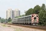One of the many Metra Commuter Trains Heading East to the Next Station