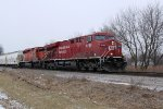 CP 8785 arrives with 282 east as the snow begins to fly