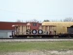 SOO 46 rusty and tagged MoW caboose