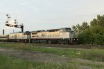 "A rare ""doubleheaded"" Hiawatha glides past in the evening light"