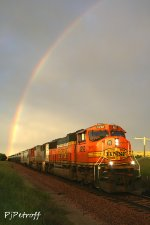 BNSF 8292 sprouting from a rainbow