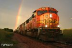 BNSF 8292 on merchandise train sprouting from a rainbow